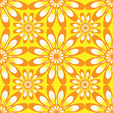 Seamless pattern with flowers. Yellow vintage texture. Stock Photo