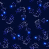 Seamless pattern with fluffy tree branches and Christmas tree de royalty free stock images