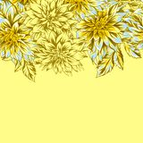 Seamless pattern with fluffy yellow dahlias. stock image