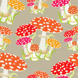 Seamless pattern with fly agaric, Amanita muscaria. vector illus Stock Photos