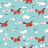 Seamless pattern with flying airplane Stock Photos