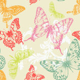 Seamless pattern with flying butterflies. Hand-drawing, vector royalty free illustration