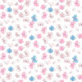 Seamless pattern of flying butterflies blue, pink and brown colors. Vector summer design. Print for fabric, paper, wallpaper.  stock illustration