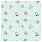 Seamless Pattern with Flying Butterflies and Pansy Flowers in Watercolor Style. Beauty in Nature. Background for Fabric, Textile Stock Photo
