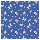 Seamless Pattern with Flying Butterflies and Pansy Flowers in Watercolor Style. Beauty in Nature. Background for Fabric, Textile. Print and Invitation. Vector royalty free illustration