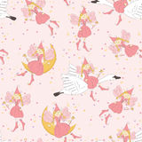 Seamless pattern with flying fairy Royalty Free Stock Photography