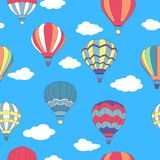 Seamless pattern of flying hot air balloons Stock Photo