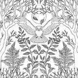 Seamless pattern with flying owl Stock Images
