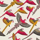 Seamless pattern With Flying Parrots royalty free stock photo