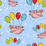 Seamless pattern. Flying pigs on balloons. The sky snowflakes. Vector. vector illustration