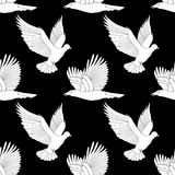 Seamless pattern with flying raven and dove. Royalty Free Stock Photos
