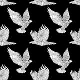 Seamless pattern with flying raven and dove. Royalty Free Stock Photo