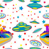 Seamless pattern with flying saucers Royalty Free Stock Photo