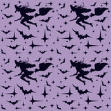 Seamless pattern with flying sexy witch silhouette, seamless. Vector illustration Royalty Free Stock Photos
