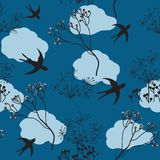 Seamless pattern with flying swallow and stylized dry flowers Stock Image