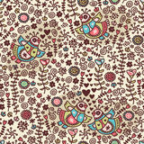 Seamless pattern with folk birds and flora. Royalty Free Stock Images