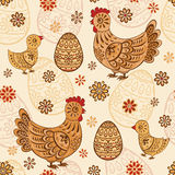 Seamless pattern with folk chicks and eggs Royalty Free Stock Images
