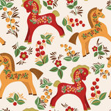 Seamless pattern with folk horses. Vector colorful background. Wooden horse a symbol of New Year 2014 stock illustration