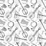 Seamless Pattern with Folk Musical Instruments Royalty Free Stock Photo