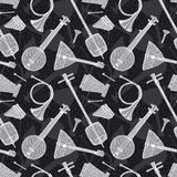 Seamless Pattern with Folk Musical Instruments Stock Images