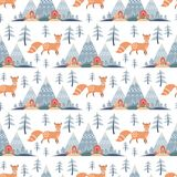 Seamless pattern in folk style with fox. Decorative seamless pattern in folk style with fox. Colorful vector background Stock Photo