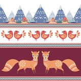 Seamless pattern in folk style with fox. Decorative seamless pattern in folk style with fox. Colorful vector background Stock Images