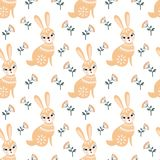 Seamless pattern in folk style with rabbit. Decorative seamless pattern in folk style with rabbit. Colorful vector background Royalty Free Stock Photography