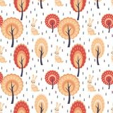 Seamless pattern in folk style with rabbit. Decorative seamless pattern in folk style with rabbit. Colorful vector background royalty free illustration