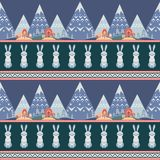 Seamless pattern in folk style with rabbit. Decorative seamless pattern in folk style with rabbit. Colorful vector background Stock Photo