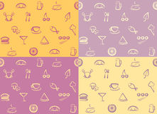 Seamless pattern: food. Assorted food ingredients in a seamless pattern Stock Photos