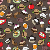 Seamless pattern with food. Stock Photo