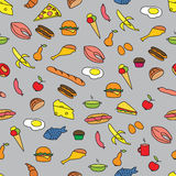 Seamless Pattern with Food. Seamless Colorful Pattern with Food. Hand drawn Stock Photos