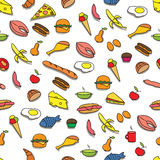 Seamless Pattern with Food. Seamless Colorful Pattern with Food. Hand drawn Royalty Free Stock Image