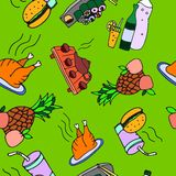 Seamless pattern of food and drinks Stock Image