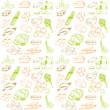 Seamless pattern with food elements stylized hand drawing. Food doodle set various products, meat, vegetables, drinking water, fruit and much more. Poster good Royalty Free Stock Photography