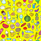 Seamless pattern with food. Hand drawn vector. Stock Image