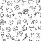 Seamless Pattern with Food Icons Royalty Free Stock Photography
