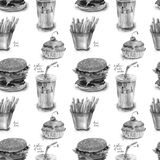 Seamless pattern with food illustration. Seamless pattern with cartoon style food illustration Royalty Free Stock Photography