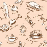 Seamless pattern with food Stock Photos