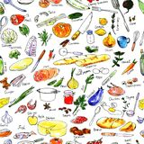 Seamless pattern with foods Royalty Free Stock Photography