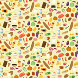 Seamless pattern of foodstuff. On yellow background in flat design style Stock Images