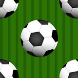 Seamless Pattern of Football / soccer Ball  on Football field Background. Royalty Free Stock Photography