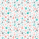 Seamless pattern with footprint of birds and animals Stock Photos