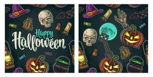 Free Seamless Pattern For Halloween Party. Vintage Color Engraving Stock Photography - 101826812