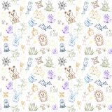 Seamless pattern with forest animals vector illustration