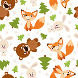 Seamless pattern of forest animals Royalty Free Stock Photography