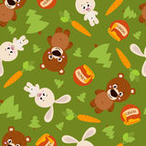 Seamless pattern of forest animals Royalty Free Stock Images