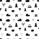 Seamless pattern of forest animals. Vector scandinavian hand-drawn children illustration of fox, deer, bear, hare, raccoon, owl, t stock illustration