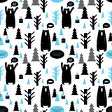 Seamless pattern with forest and bears. Stock Photography