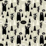 Seamless pattern with forest and bears. Royalty Free Stock Images